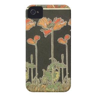 Coque Case-Mate iPhone 4 Pavots vintages de Nouveau d'art populaire