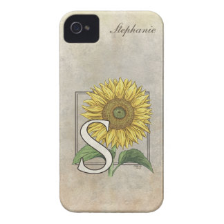 Coque Case-Mate iPhone 4 S pour le monogramme floral de tournesol