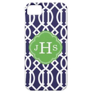 Coque Case-Mate iPhone 5 Bleu marine et monogramme moderne vert de coutume
