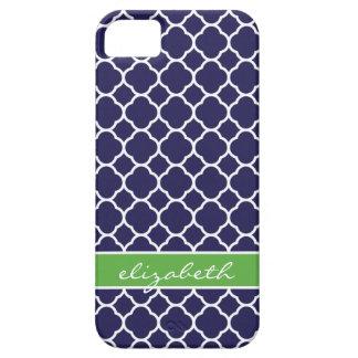 Coque Case-Mate iPhone 5 Monogramme de coutume de Quatrefoil de bleu marine