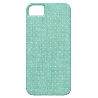 Coque Case-Mate iPhone 5 Texture de toile d'Aqua et pois mignon