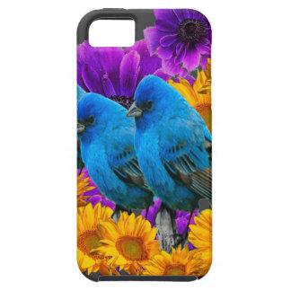 COQUE Case-Mate iPhone 5 TROIS OISEAUX BLEUS ET FLEURS DE PURPLE-YELLOW