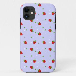Coque Case-Mate Pour iPhone Les fraises modèlent avec l'arrière - plan pourp