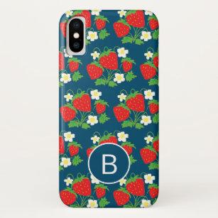 Coque Case-Mate Pour iPhone Motif bleu de fraise et de fleur décoré d'un