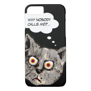 Coque iPhone 8/7 noir drôle de bande dessinée de chat