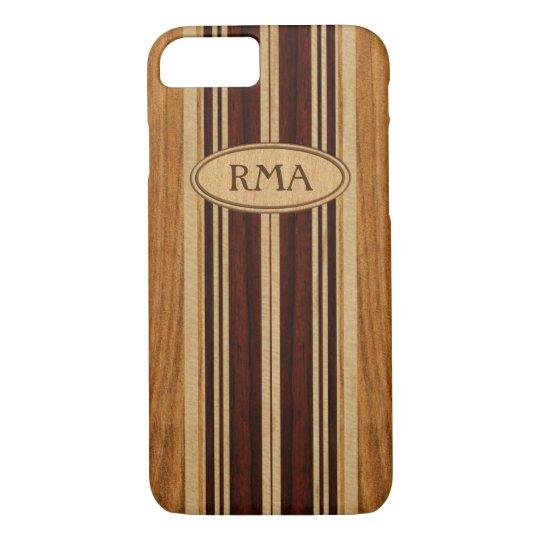 Coque Case-Mate Pour iPhone Planche de surf en bois de monogramme de Koa de