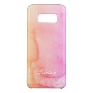 Coque Case-Mate Samsung Galaxy S8 L'aquarelle rose de pêche tourbillonne monogramme