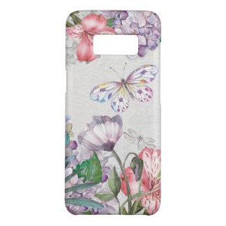 Coque Case-Mate Samsung Galaxy S8 Le jardin d'aquarelle fleurit la libellule de