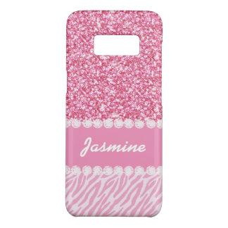 Coque Case-Mate Samsung Galaxy S8 Le zèbre Girly de parties scintillantes de rose de