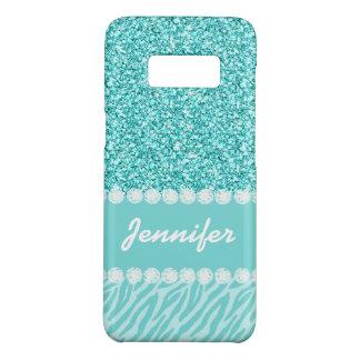 Coque Case-Mate Samsung Galaxy S8 Le zèbre turquoise Girly personnalisé de parties
