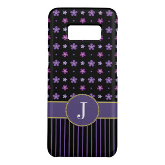 Coque Case-Mate Samsung Galaxy S8 Monogramme chic rayé floral noir pourpre chic