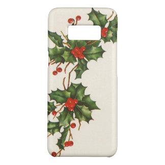 Coque Case-Mate Samsung Galaxy S8 Noël vintage, usine de houx avec les baies rouges