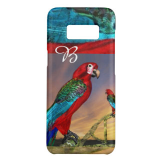 COQUE Case-Mate SAMSUNG GALAXY S8 PERROQUETS HYPER/MONOGRAMME ROUGE D'ARUMS