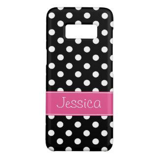 Coque Case-Mate Samsung Galaxy S8 Pois rose et noir de très bon goût personnalisé