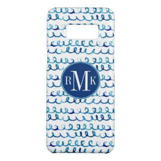 Coque Case-Mate Samsung Galaxy S8 Profil onduleux d'aquarelle bleue peinte à la main