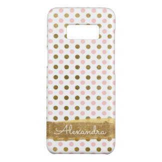 Coque Case-Mate Samsung Galaxy S8 Rose, blanc et monogramme de point de polka de
