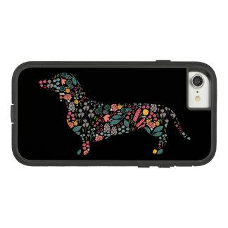 Coque Case-Mate Tough Extreme iPhone 7 Art floral d'aquarelle de motif de chien de