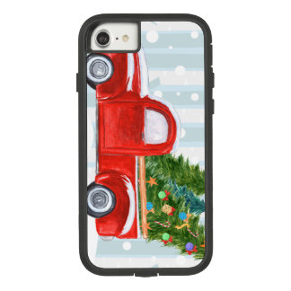 Coque Case-Mate Tough Extreme iPhone 8/7 Camion pick-up rouge de Noël sur une route de