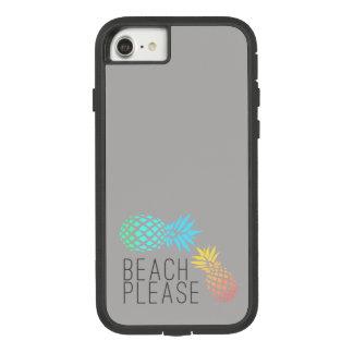 """Coque Case-Mate Tough Extreme iPhone 8/7 été à la mode """"plage svp"""", ananas coloré"""