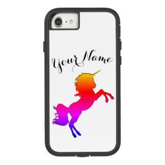 Coque Case-Mate Tough Extreme iPhone 8/7 Licorne d'arc-en-ciel avec le nom personnalisé