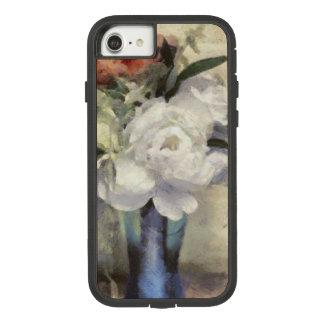 Coque Case-Mate Tough Extreme iPhone 8/7 Pivoine bleue nuptiale peinte de vase à bouquet