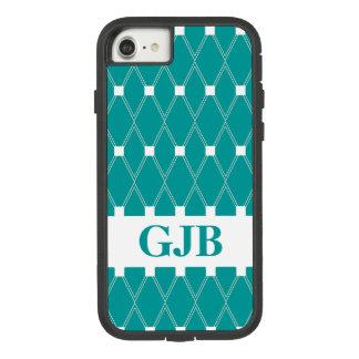 Coque Case-Mate Tough Extreme iPhone 8/7 Trellis à motifs de losanges turquoise avec le