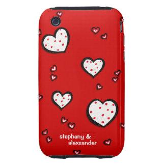 Coque-Compagnon rouge de l'iPhone 3 de coeurs poin