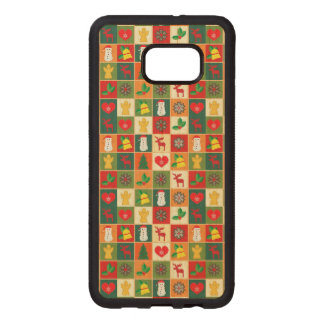 Coque En Bois Galaxy S6 Edg Grand motif de Noël