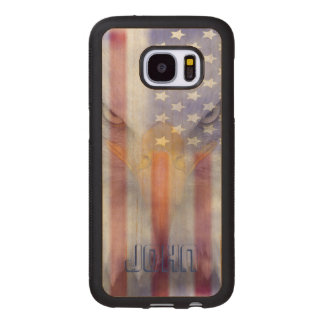 Coque En Bois Galaxy S7 Drapeau Eagle fané par | | Pesonalized