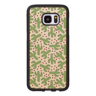 Coque En Bois Galaxy S7 Edge Cactus illustré et motif de fleurs rose