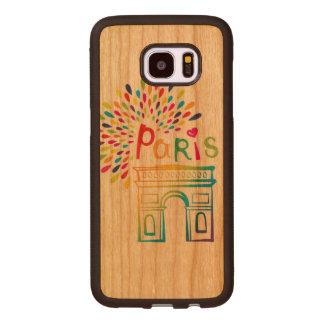 Coque En Bois Galaxy S7 Edge Conception au néon de Paris France | Arc de