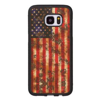 Coque En Bois Galaxy S7 Edge Drapeau vertical américain rouillé patiné