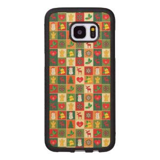Coque En Bois Galaxy S7 Edge Grand motif de Noël