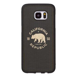 Coque En Bois Galaxy S7 Edge Logo | de la Californie le Golden State