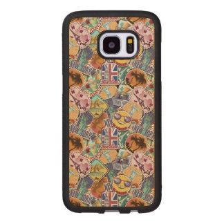 Coque En Bois Galaxy S7 Edge Motif coloré d'autocollant de voyage