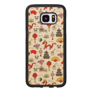 Coque En Bois Galaxy S7 Edge Motif de symboles de la Chine