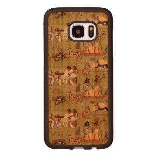 Coque En Bois Galaxy S7 Edge Motif de symboles de l'Egypte |