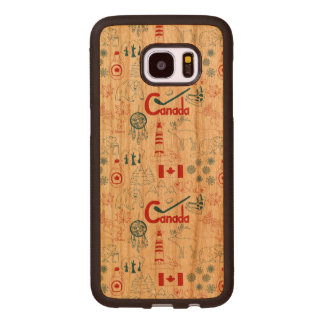 Coque En Bois Galaxy S7 Edge Motif de symboles du Canada |