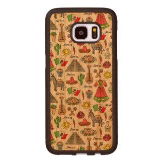 Coque En Bois Galaxy S7 Edge Motif de symboles du Mexique |