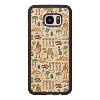 Coque En Bois Galaxy S7 Edge Symboles de couleur de motif de l'Egypte