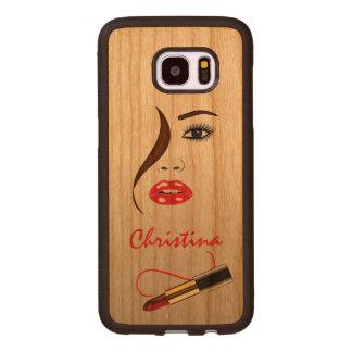 Coque En Bois Galaxy S7 Edge Visage et rouge à lèvres dans le bois de