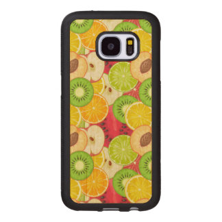 Coque En Bois Galaxy S7 Motif coloré de fruit d'amusement