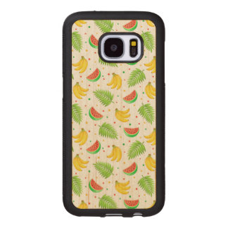 Coque En Bois Galaxy S7 Motif de point de polka de fruit tropical