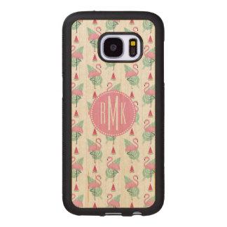 Coque En Bois Galaxy S7 Motif en pastel de flamant et de pastèque