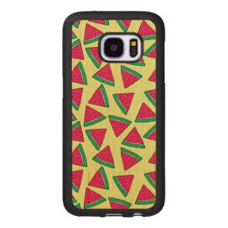 Coque En Bois Galaxy S7 Motif mignon de bande dessinée de tranche de