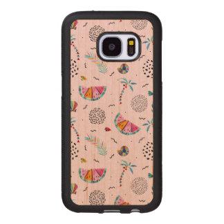 Coque En Bois Galaxy S7 Motif rose tropical de style de Memphis
