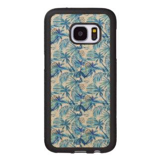 Coque En Bois Galaxy S7 Motif tropical bleu lumineux d'aquarelle