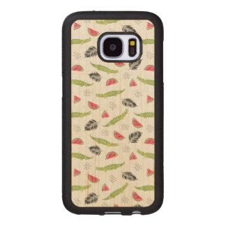 Coque En Bois Galaxy S7 Motif tropical de pastèque et de crocodile