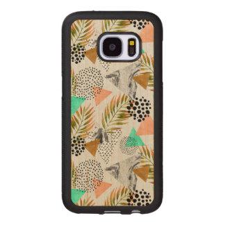 Coque En Bois Galaxy S7 Motif tropical géométrique abstrait de feuille