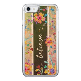 Coque En Bois iPhone 7 Aquarelle d'inspiration de fleur sauvage